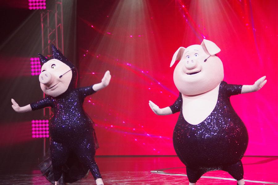 ブタのコンビ、歌が好きなロジータ(左)とダンスが得意なグンター