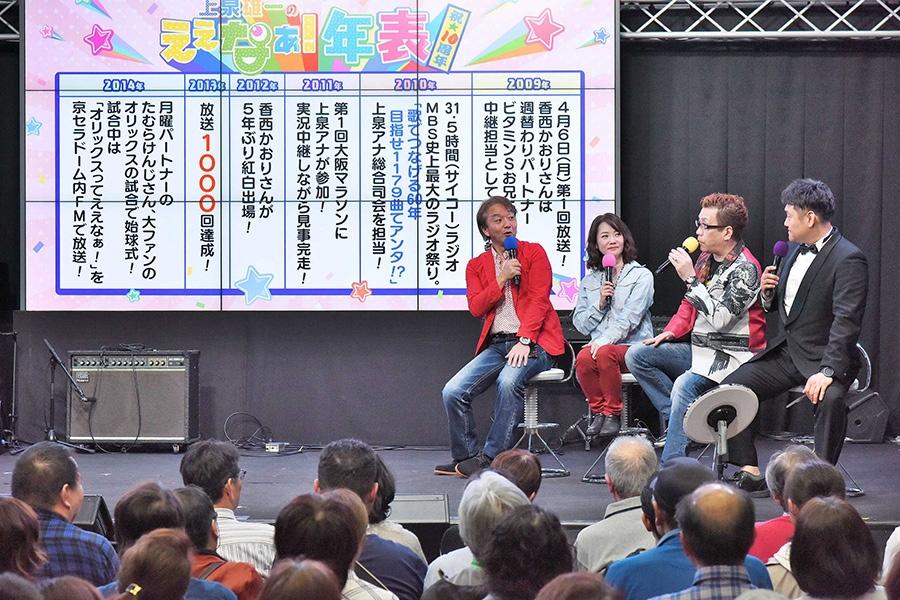 番組の10年間を振り返る。左から、上泉雄一アナ、香西かおり、嘉門タツオ、ビタミンSお兄ちゃん