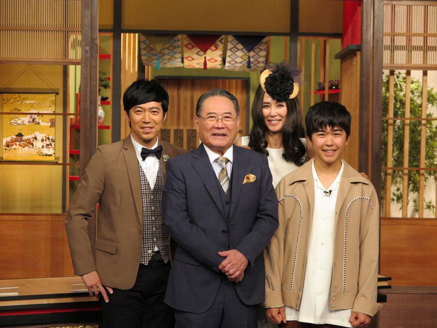 『二代目 和風総本家』のレギュラー陣。左から東貴博、前田吟、萬田久子、鈴木福