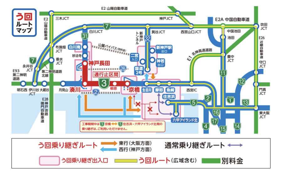 「阪神高速3号神戸線 リニューアル工事」の通行止め区間及びう回ルート