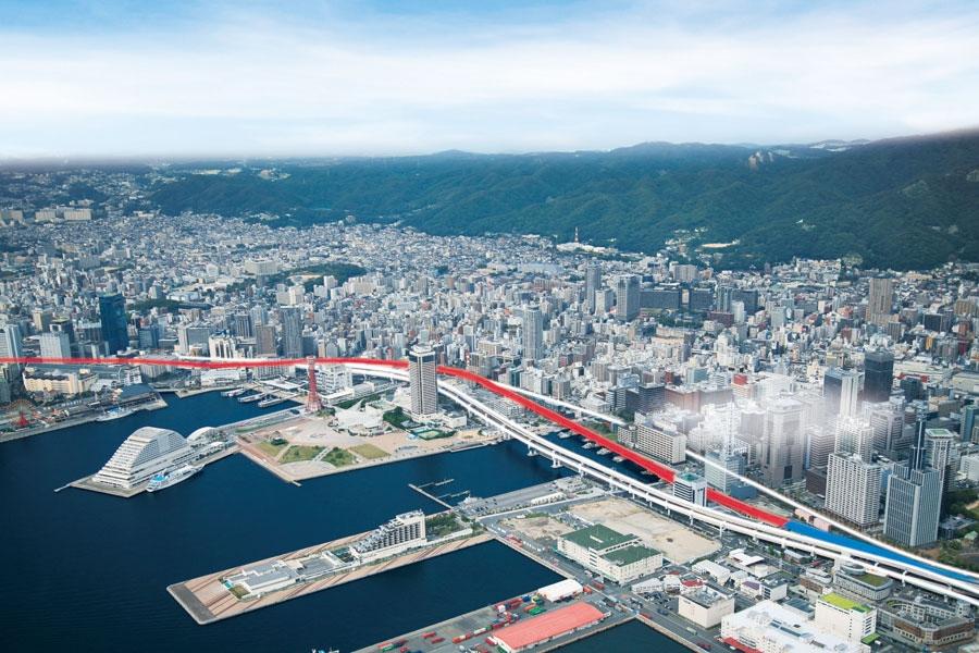 阪神高速 3号神戸線 湊川〜京橋間の空撮 画像提供:阪神高速道路