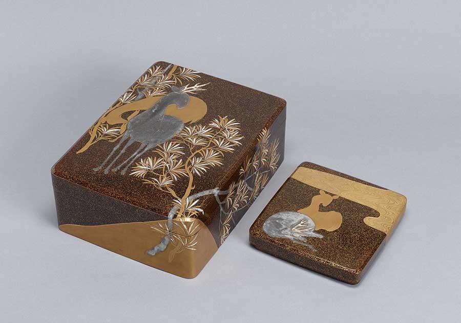 槙鹿蒔絵螺鈿料紙箱・硯箱 江戸時代 18世紀 京都国立博物館蔵