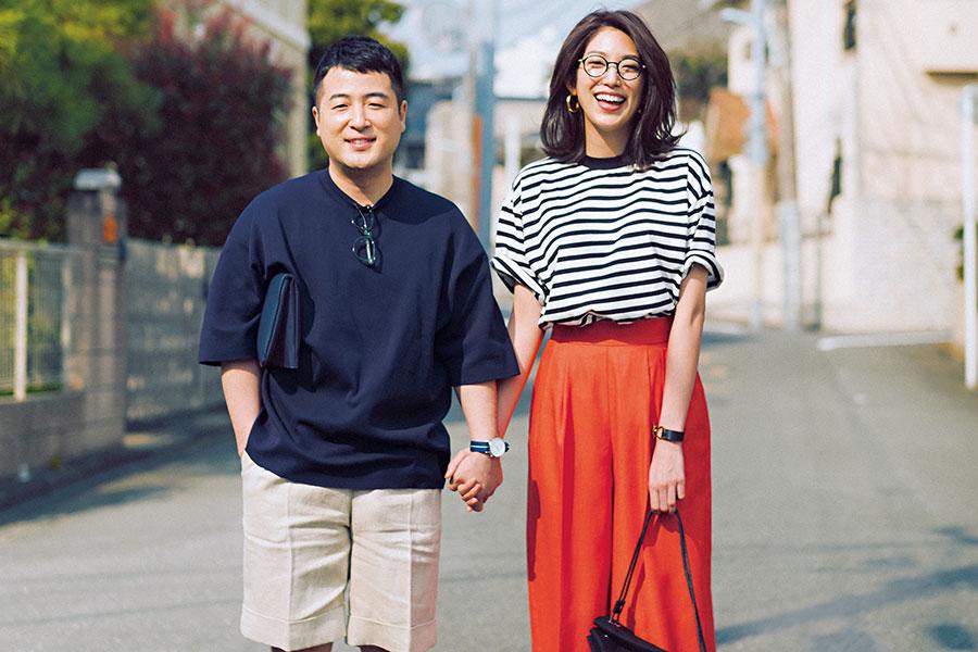 夫婦役を演じる、和牛・水田信二(左)と同誌専属モデル・望月芹名