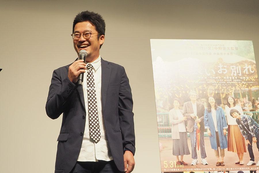 映画『長いお別れ』の舞台挨拶に登場した中野量太監督(17日・大阪市内)