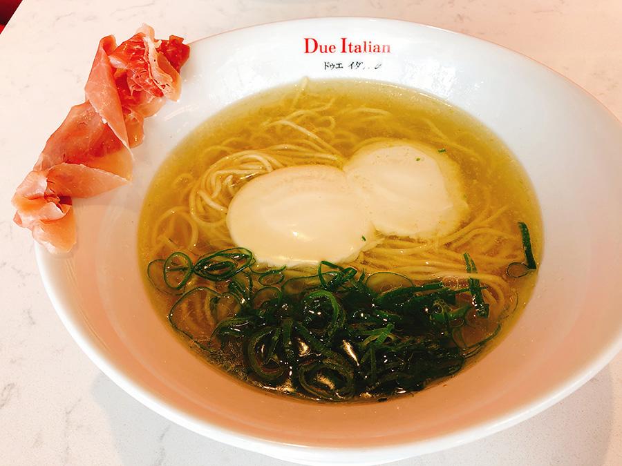 「黄金の塩らぁ麺 ドゥエイタリアン」の生ハムフロマージュ1180円