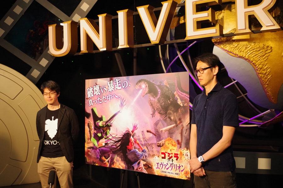 会見に応じたグラウンドワークスの佐竹寛さん(左)と東宝の吉川哲矢さん(30日・USJ)