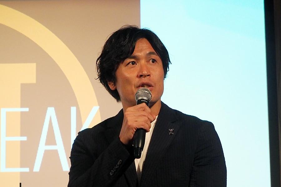 「BLT STEAK OSAKA」(大阪市北区)のレセプションに登場した大畑大介氏(20日・大阪市内)
