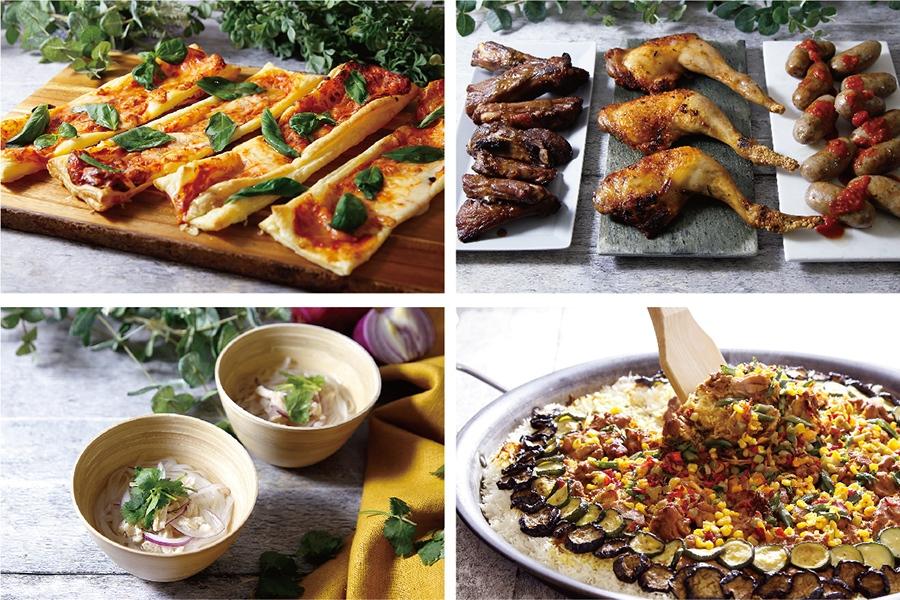 生ソーセージグリルやピザ、夏野菜のチキンビリヤニなど多彩な料理が登場する