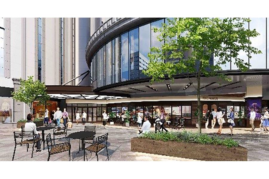 デッキにより周辺施設と接続される、2階北東広場の完成イメージ