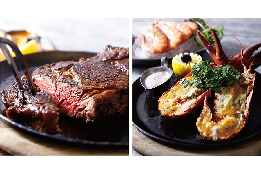 巨大なトマホークステーキが登場するプラン(左、4名から)や、オマール海老をまるごと楽しむプラン(2名から) ※どちらも要予約