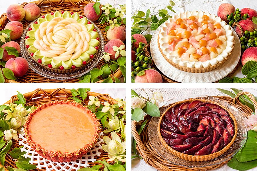 7月1日から10日は、(左上から時計まわりに)「桃と抹茶のタルト」、「桃とアールグレイババロアのタルト」「赤い桃とピスタチオのタルト」「ベイクドチーズと桃のコンポートタルト」などが登場。全て価格未定