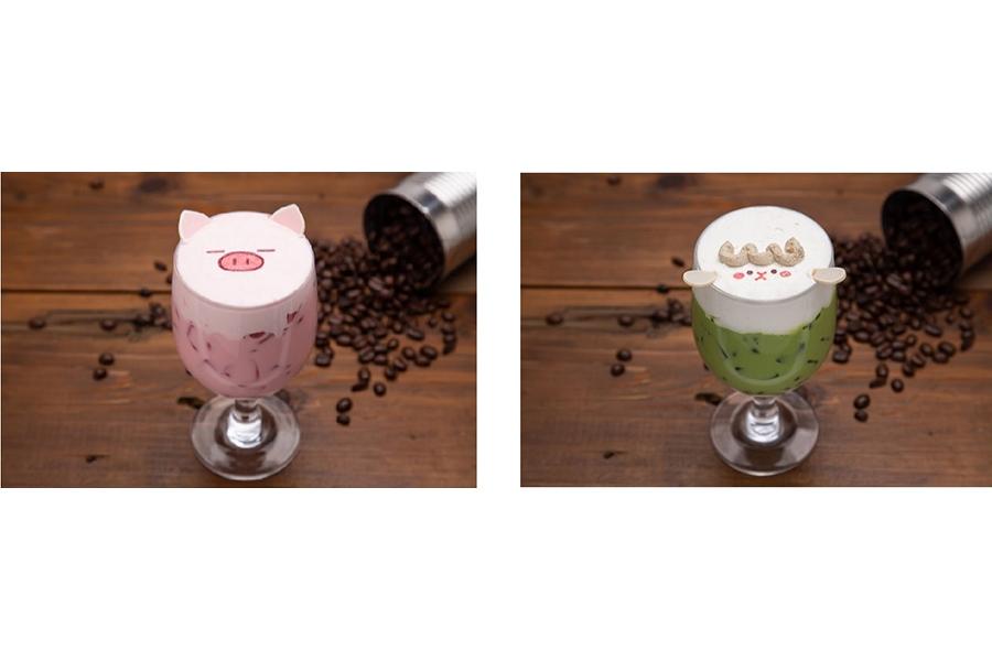 「ぶたたのイチゴミルク」「めーたの抹茶ミルク」(各990円)