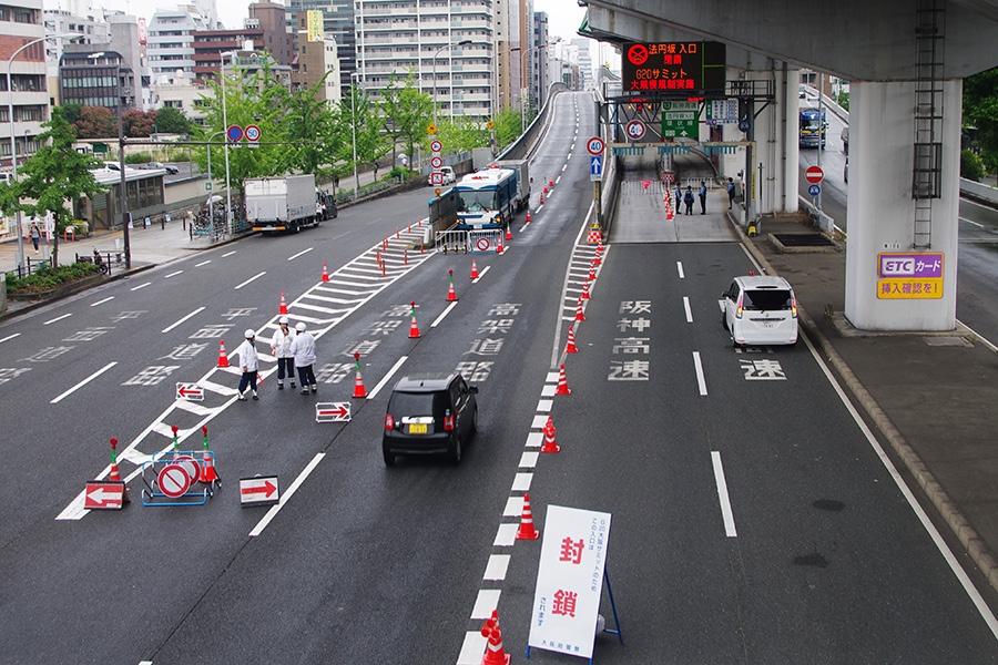 阪神高速13号東大阪線・法円坂出口の様子(27日・午前撮影)