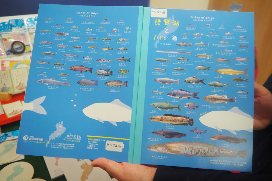 琵琶湖と川の魚がノートに集結した「滋賀のお魚ヨシノート」(216円)。子ども、男性に人気だそう