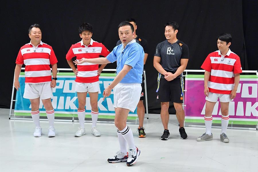 毎日放送『戦え!スポーツ内閣 ラグビーワールドカップ100日前SP』にて、中央が中川家・礼二(6月12日放送)