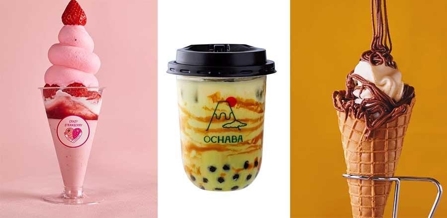 左から「クレイジー ストロベリー」のいちごのショートケーキパフェ、「オチャバ」の玄米茶ロイヤルミルクティー、「チョコラ」のベトナムチョコラクリーム