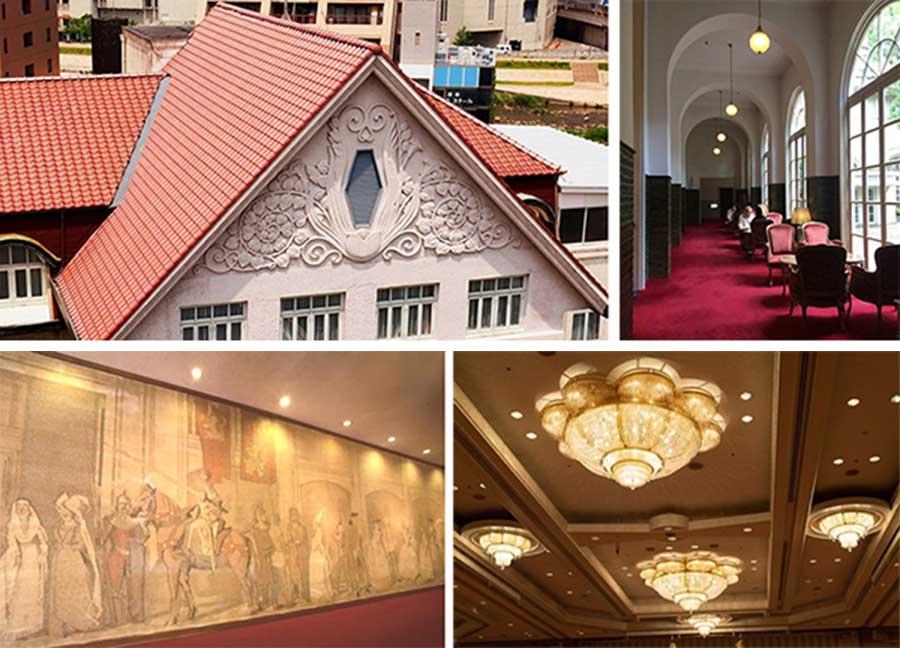 左上から時計回りに、植物モチーフのレリーフ、アーチ付き天井の回廊が復元、宝寿の間にあるシャンデリアと緞帳が移設される