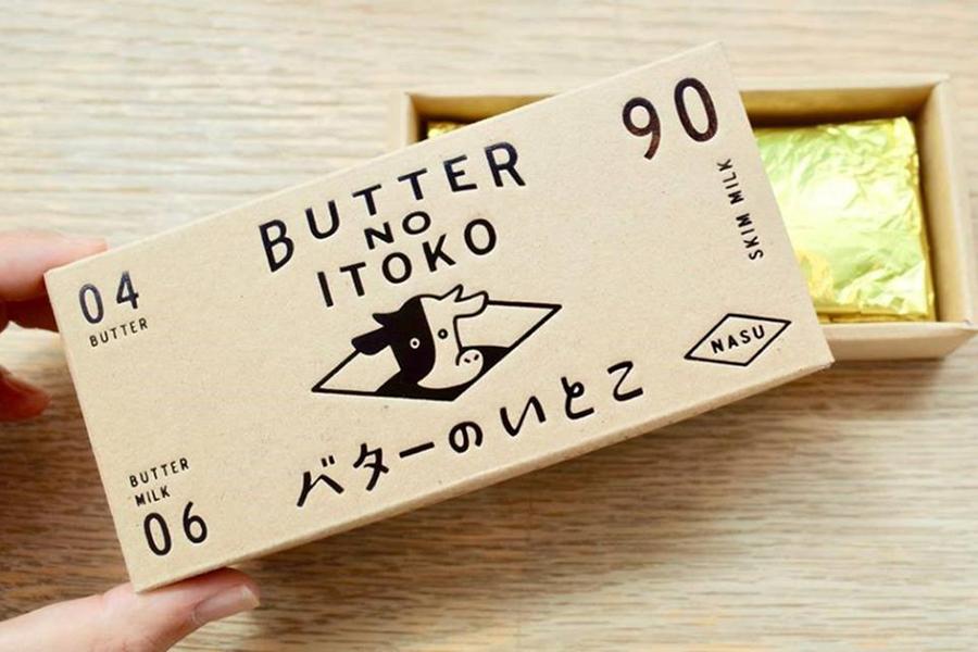 「バターのいとこ」のパッケージ。箱に印字された数字はそれぞれ、牛乳からバターを作る時、バターになる「4%」、バターミルクの「6%」、無脂肪乳になる「90%」の数字を表しているのだそう