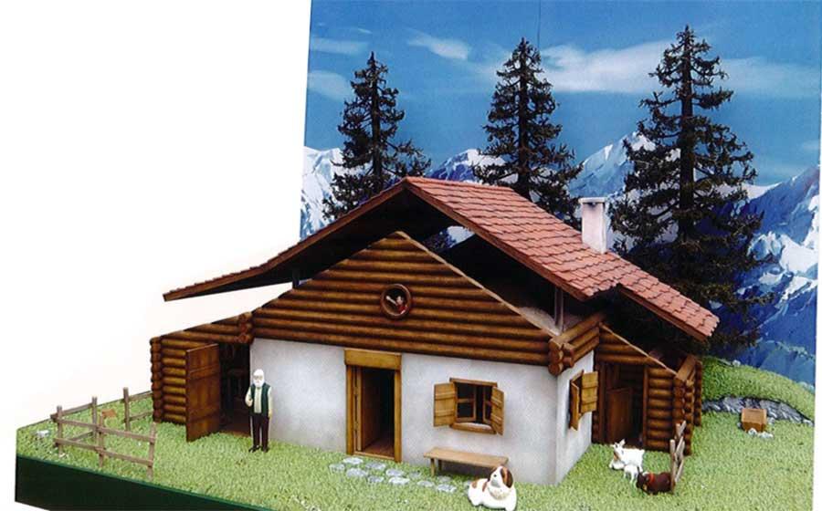 ハイジがおんじと暮らした、アルムの山小屋は1/10スケールで外・内装が再現されている