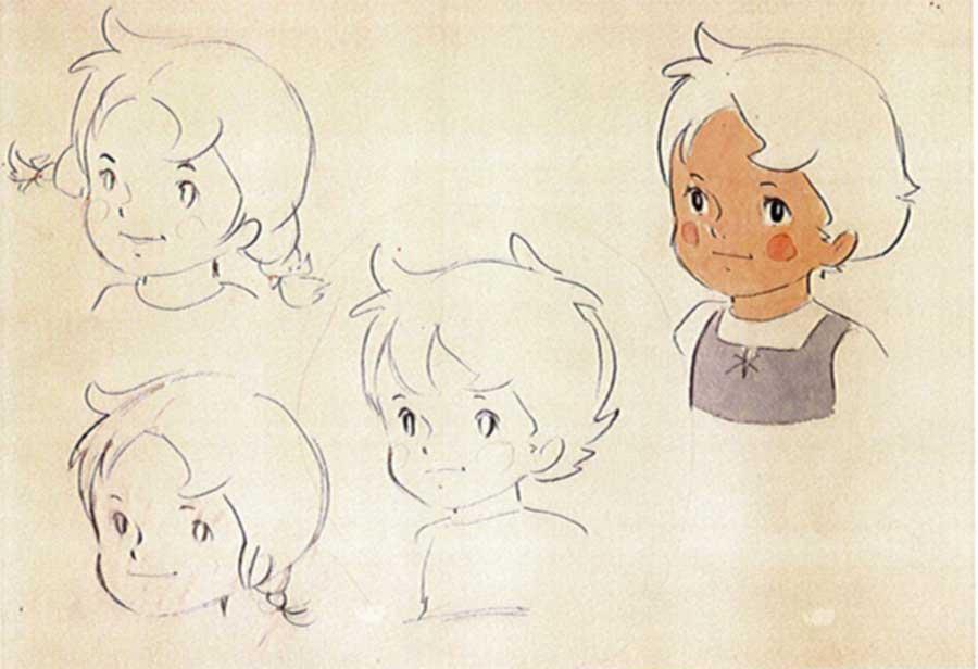 小田部羊一の初期スケッチ ハイジ髪型
