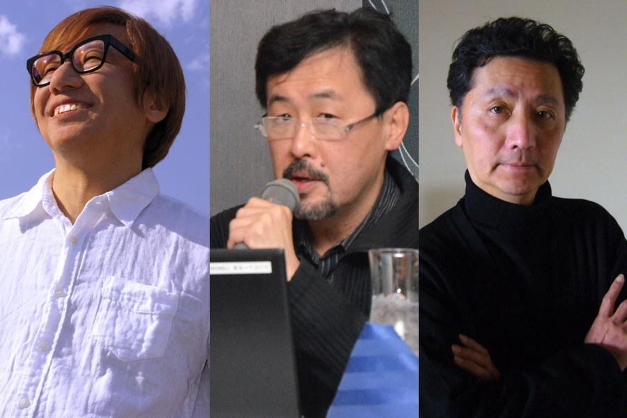 左からトークショーに参加する、しりあがり寿、山下裕二さん、森村泰昌