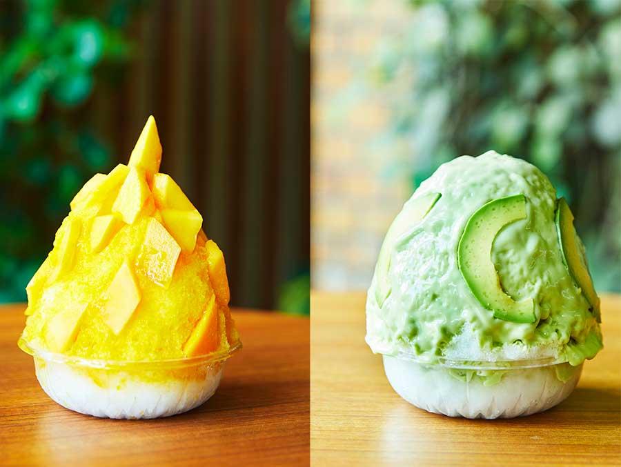 左からマンゴーづくし氷、アボカドミルク氷