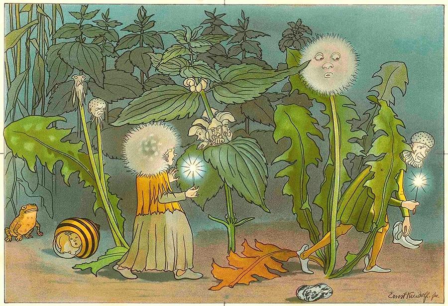 『花のメルヘン』より《夜のぬすびと》1898年 小さな絵本美術館蔵