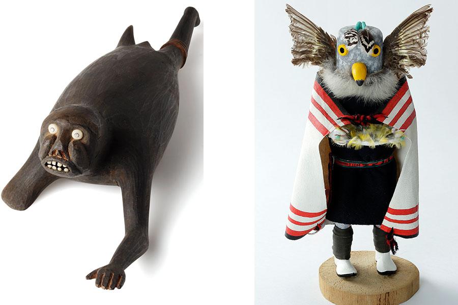 左:「トゥピラク(グリーンランド)」、右:「アメリカワシミミズクのカチーナ人形(アメリカ合衆国)」国立民族学博物館蔵 撮影:大道雪代