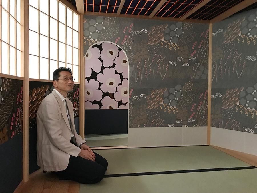 「マリメッコ茶室」を設計した茶室建築家の飯島照仁さん