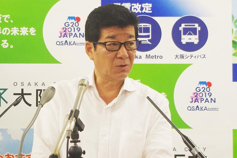 大阪市役所内で会見をおこなった大阪市の松井一郎市長(4日・大阪市内)