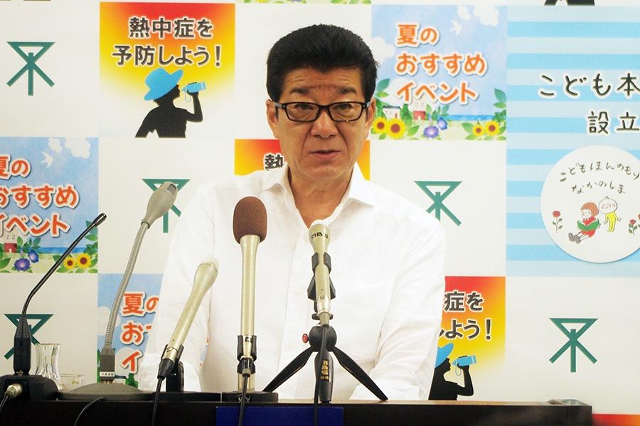 熱中症予防について注意喚起した、大阪市の松井一郎市長(11日・大阪市役所)
