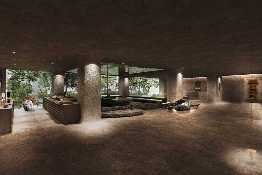 共有スペース。空間デザインのコンセプトは「光の影」とのこと