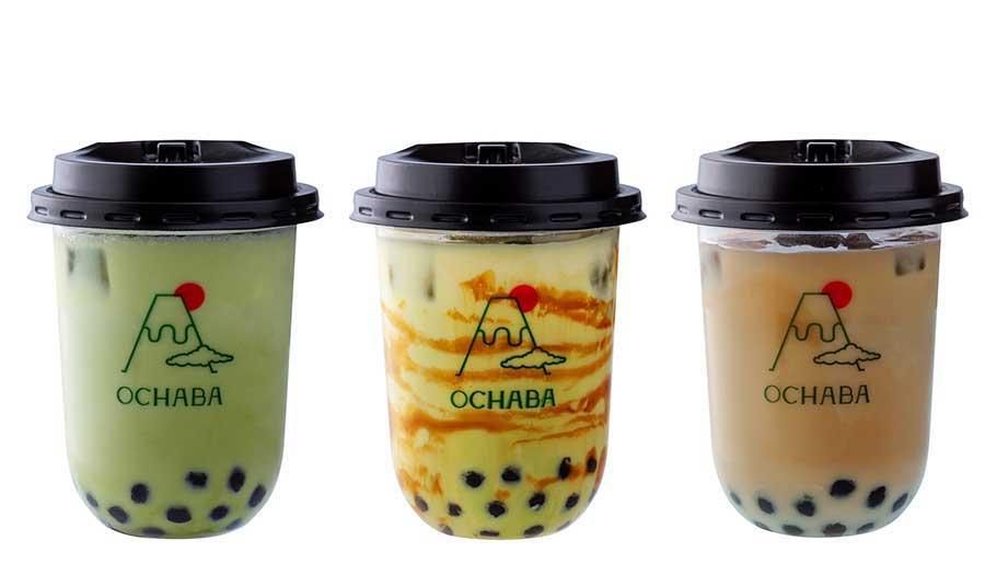 左から緑茶ロイヤルミルクティー580円、玄米茶ロイヤルミルクティー550円、ほうじ茶ロイヤルミルクティー580円(全て税別)