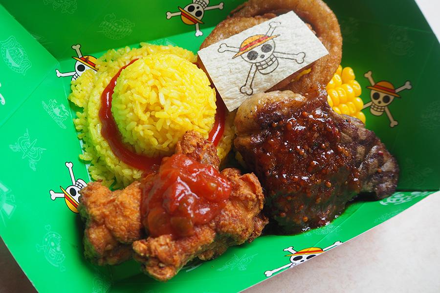 『ワンピース海賊食堂」に登場する「麦わらの一味 モンキー・D・ルフィの肉盛りプレート」(1990円)