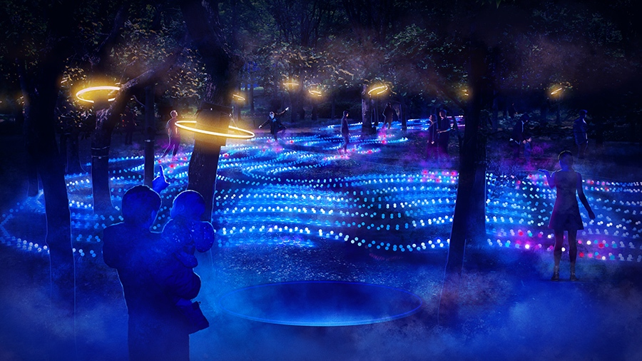 8月6日に誕生する新ゾーンは、水と音によるインタラクティブ体験ができる ⒸSAKUYA LUMINA