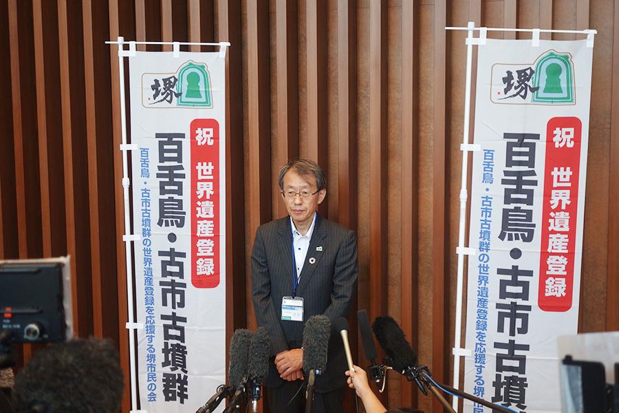 堺市文化観光局長・宮前誠さん。「街なかで1600年間守ってきた市民の活動が高く評価されたというのが驚きでした」と語った