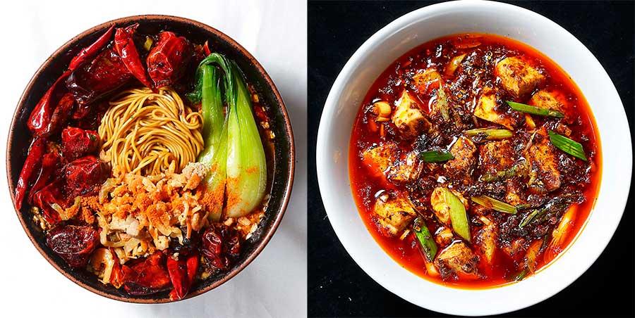 左から酒中花 空心の担々麺、六徳 恒河沙の麻婆豆腐