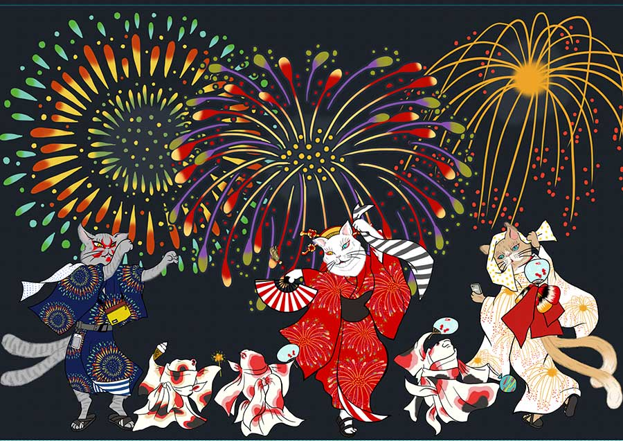 「阪急うめだ本店」の9階祝祭広場でおこなわれる『ハンキュウBONフェス』のイメージイラスト。ⒸAguri Sagimori