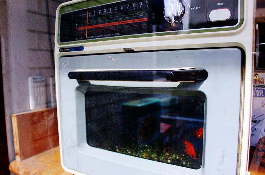 金魚が泳ぐ電子レンジ(写真)、電気なべ、街頭のガラスカバーなど、あらゆる物に金魚がコラボ