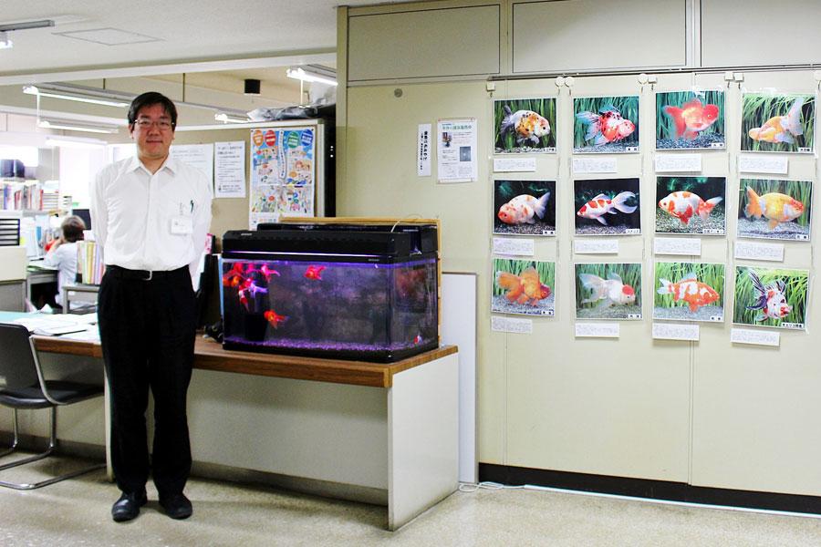 金魚テーブルがあるなど「大和郡山市役所」も金魚でいっぱい。お話を伺った地域振興課の山地さん