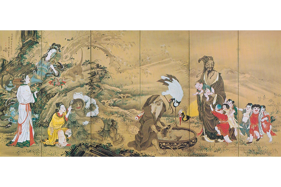 曾我蕭白《群仙図屏風》左隻 1764年 文化庁蔵 重要文化財(『京都の美術 250年の夢』にて展示)