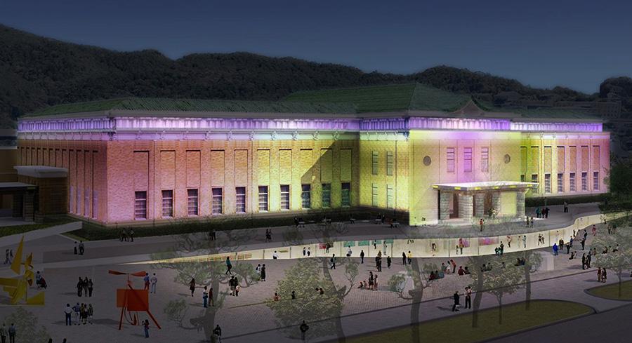 京都市京セラ美術館のライトアップイメージ。イベント時にはさまざまなな演出も