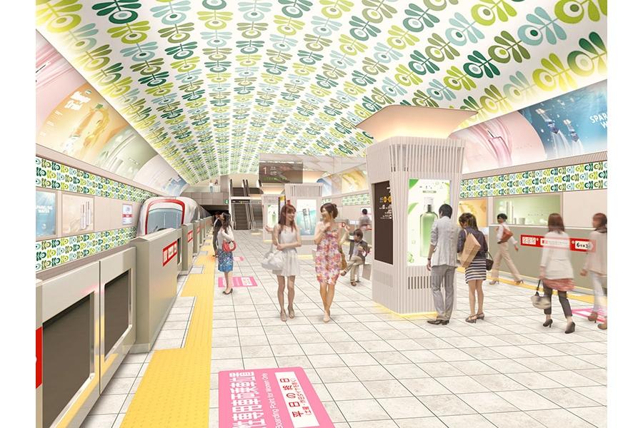 批判の声が多く上がった、地下鉄御堂筋線「心斎橋駅」の旧デザイン案(2018年12月発表)