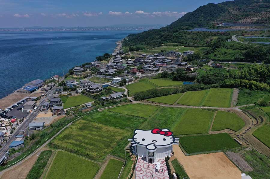 上空から見た、ハローキティショーボックス。<br />Ⓒ1976, 2019 SANRIO CO., LTD.