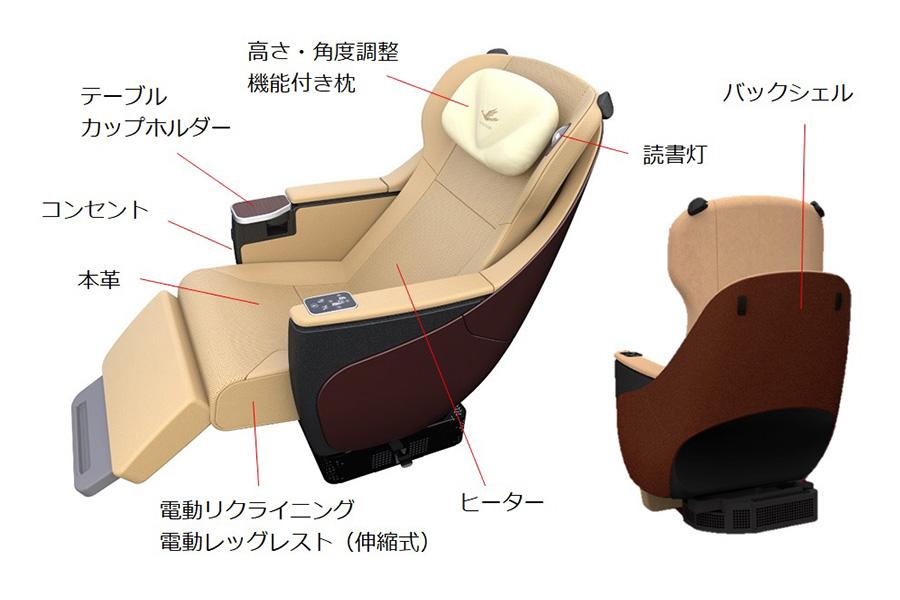 新型名阪特急「ひのとり」プレミアム車両の座席シート