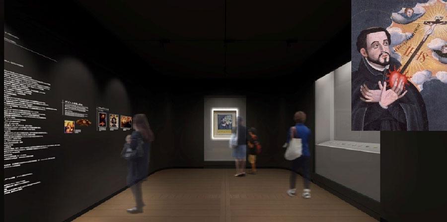 コレクション展示室イメージ図(ザビエル像は右上に拡大)。あのザビエル像が実は神戸にあることは、意外に知られていない(神戸市提供)