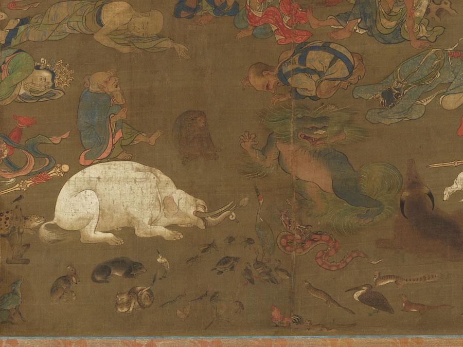 中川さんがおススメの仏涅槃図。表情豊かな動物や生き物たちが描かれている
