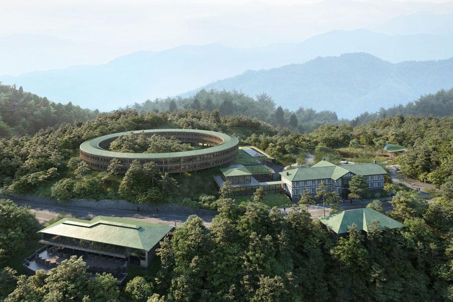 「六甲山サイレンスリゾート」完成イメージ図。円形の宿泊棟「サイレンスリング」は、森の中にいるようなプライベート空間を演出する(提供:六甲山サイレンスリゾート)