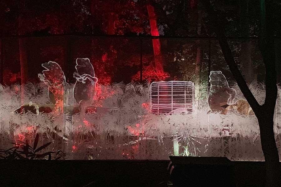 今年、初登場した「Walk, Walk,Walk- 下鴨神社 糺の森」。200m以上に渡るスクリーンに多様な肖像群が歩いている様子を映し出している