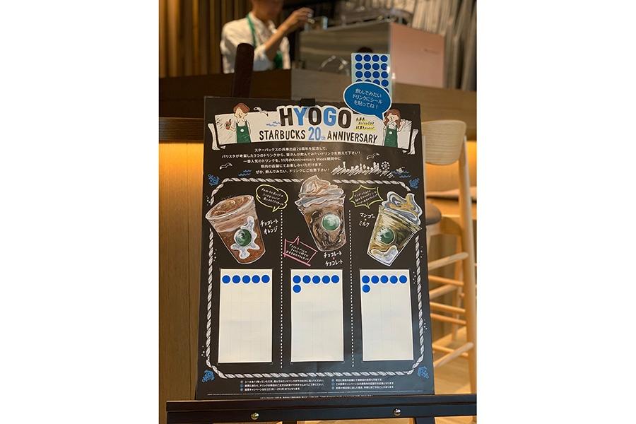 兵庫県の投票ボード。飲んでみたいドリンクにシールを貼ることで投票完了